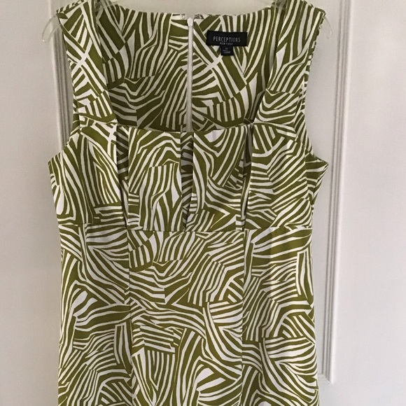 new arrival c4c84 6085f Perceptions New York Olive Green & White Dress 12